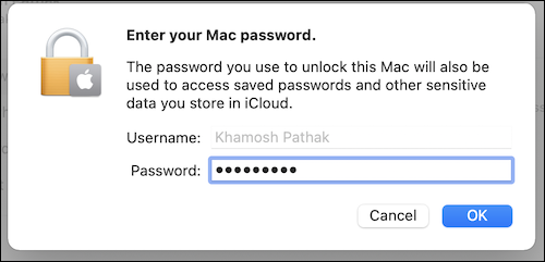 Enter your Mac password in the Apple ID section to continue using iCloud on your Mac.