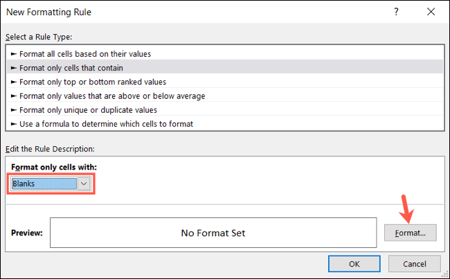 Select Blanks and click Format