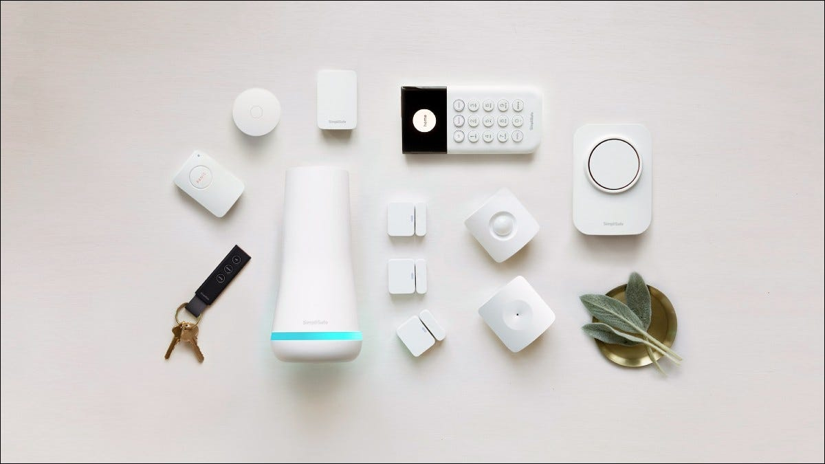 SimpliSafe components on white background