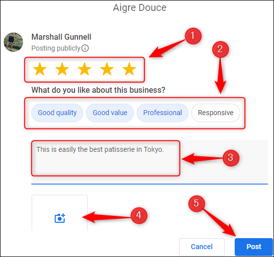 Google Review input window