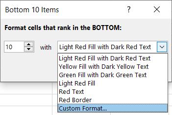 Select Custom Format