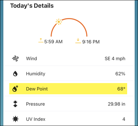 Dew point in Weather Channel.