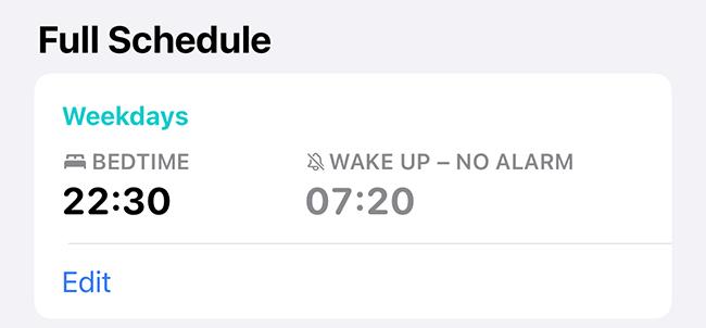 An Apple Health sleep schedule