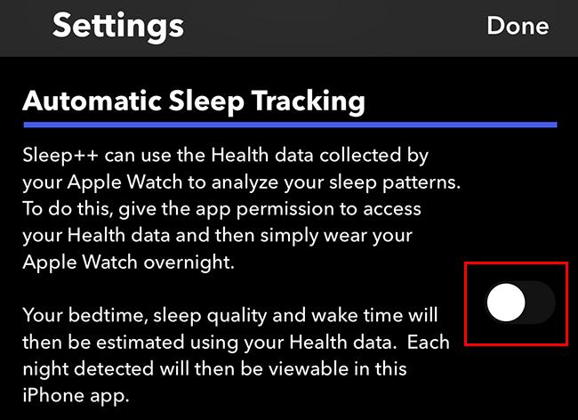 Toggle off automatic sleep tracking