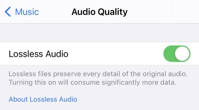 Apple Music Lossless Audio Toggle