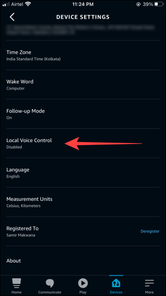 """In Device Settings, scroll down to the """"Local Voice Control"""" section and tap on it."""