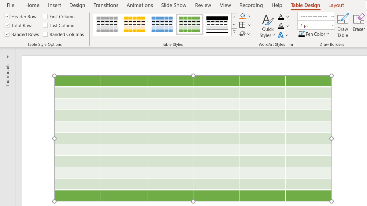 Table in PowerPoint