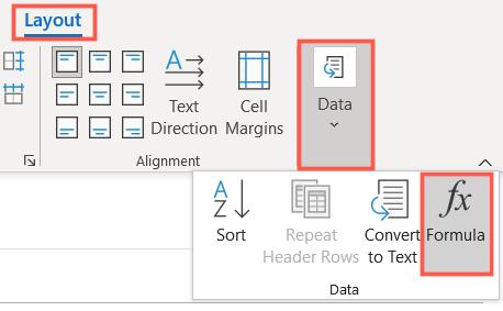 On the Layout tab, click Data, Formula