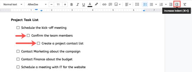 Multilevel checklist in Google Docs