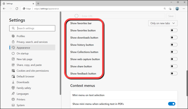 """In Appearnce Settings of Edge, you won't the """"Show Maths Solver button"""" option on the list"""