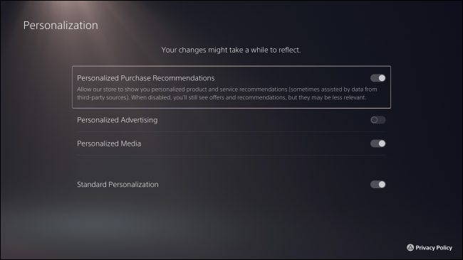 """""""Personalization"""" PS5 privacy settings"""