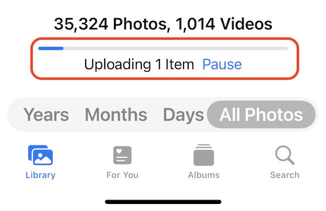The upload progress bar in the Photos app.