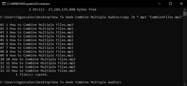 combine multiple files using the copy command