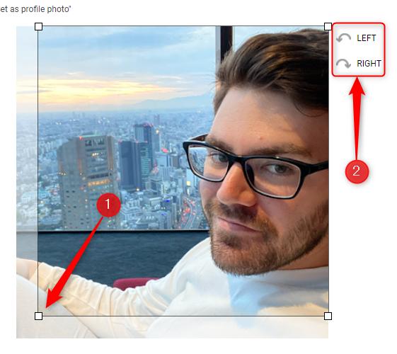 Gire e clique e arraste as quatro alças para cortar a nova imagem de perfil.