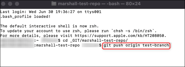 Run the command to push your branch to GitHub.