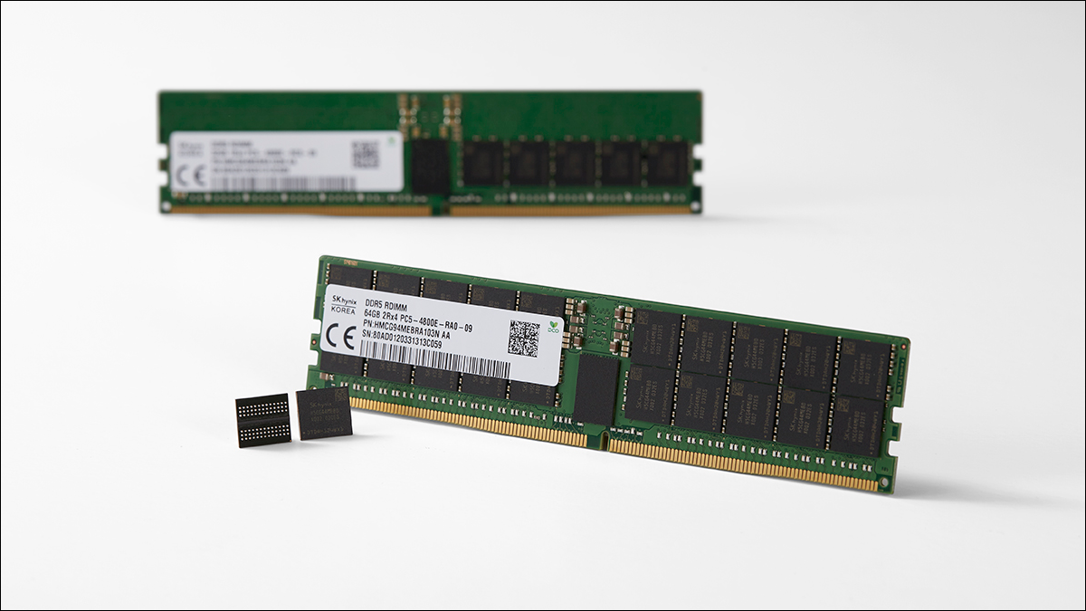 Two DDR5 RAM sticks with the bare PCB and RAM chips showing.