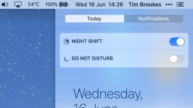 Night Shift in macOS Catalina