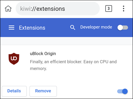 uBlock in the Kiwi Browser.