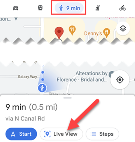 """Select """"Live View"""" in walking mode."""