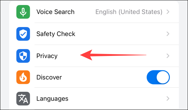 """Select the """"Privacy"""" section."""