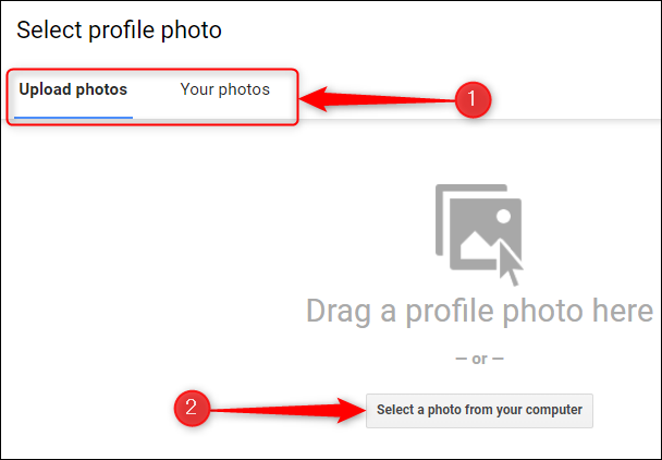 """Selecione uma foto usando a guia """"Carregar fotos"""" ou """"Suas fotos""""."""