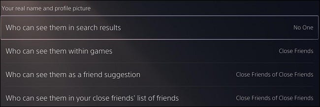 """""""Your real name and profile picture"""" PS5 settings"""