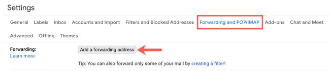 Dans l'onglet Transfert, cliquez sur Ajouter une adresse de transfert