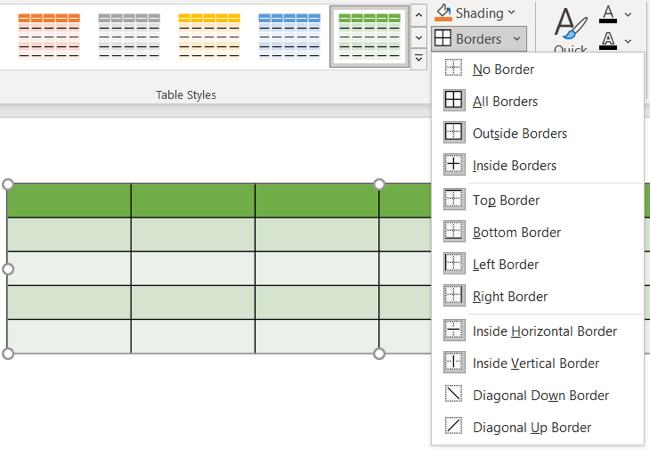 Choose a Borders style