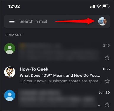 """Toque em sua """"Foto do perfil"""" no aplicativo Gmail."""
