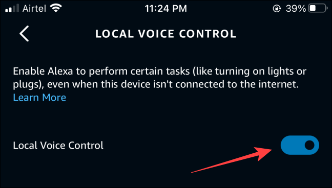 """Toggle on the option for """"Local Voice Control."""""""