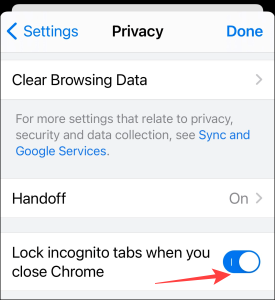 """Toggle on the """"Lock Incognito Tabs When You Close Chrome"""" option."""