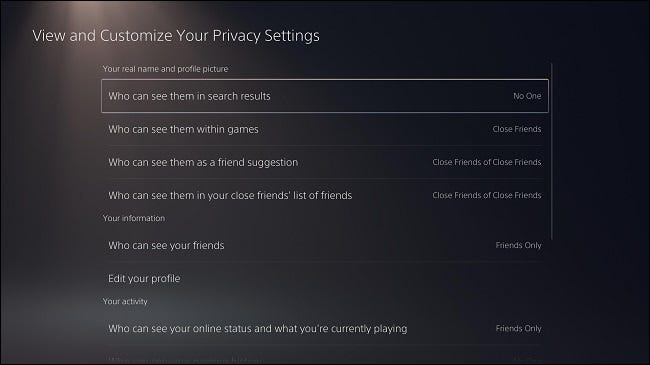 """""""View and Customize Your Privacy Settings"""" PS5"""