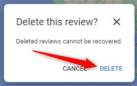 """Fare clic sul pulsante """"Elimina"""" per eliminare la recensione."""