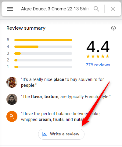 """Click the """"Write a Review"""" button"""