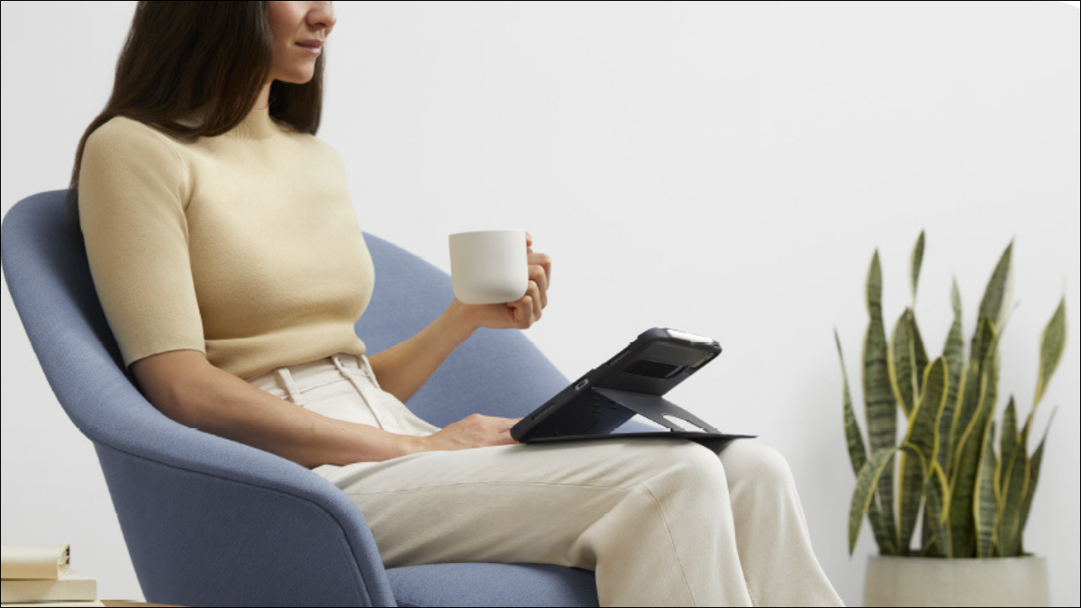 woman using ipad pro in zugu case