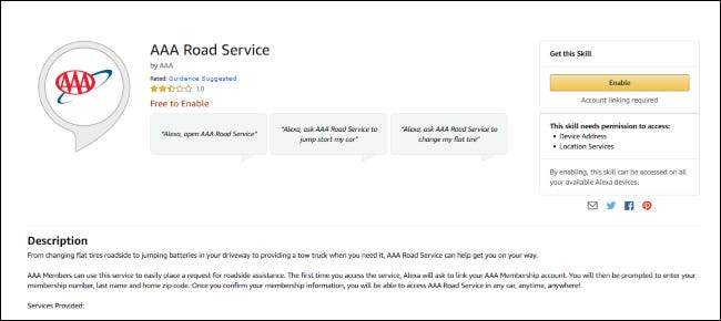 AAA Road Service skill in the Amazon store.