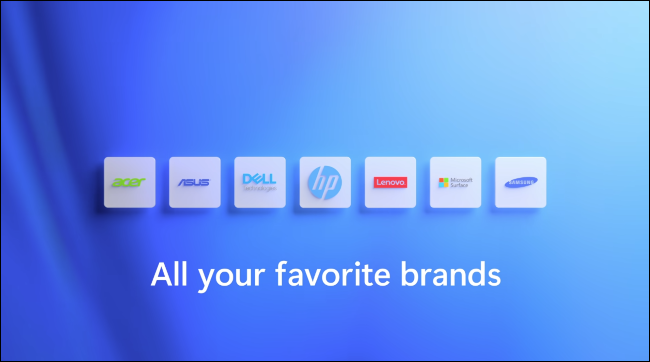 """The """"All your favorite brands"""" slide from Windows 11's announcement."""
