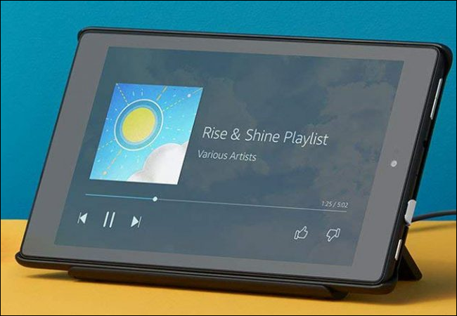 Amazon Fire Tablet on table.