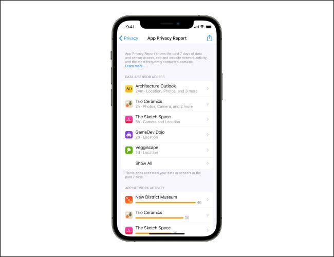App Privacy Report on iOS 15.