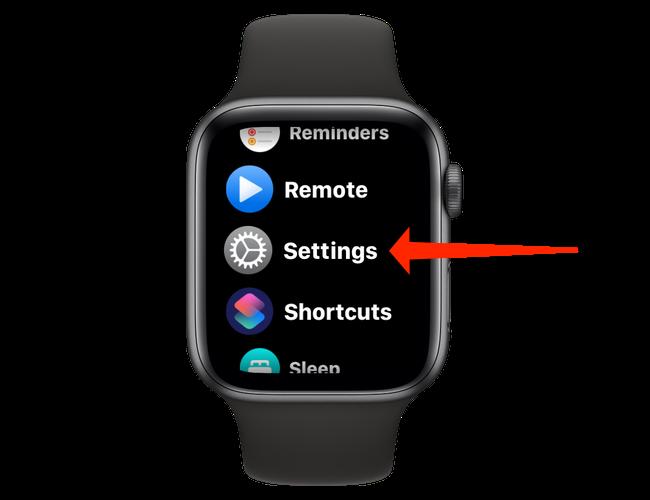 """Open """"Settings"""" on Apple Watch."""