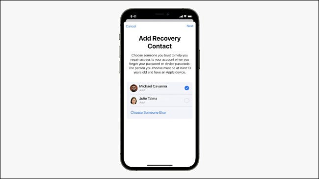 Adding a recovery contact on iPhone.