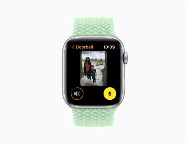 Apple Watch showing a camera view on watchOS 8.
