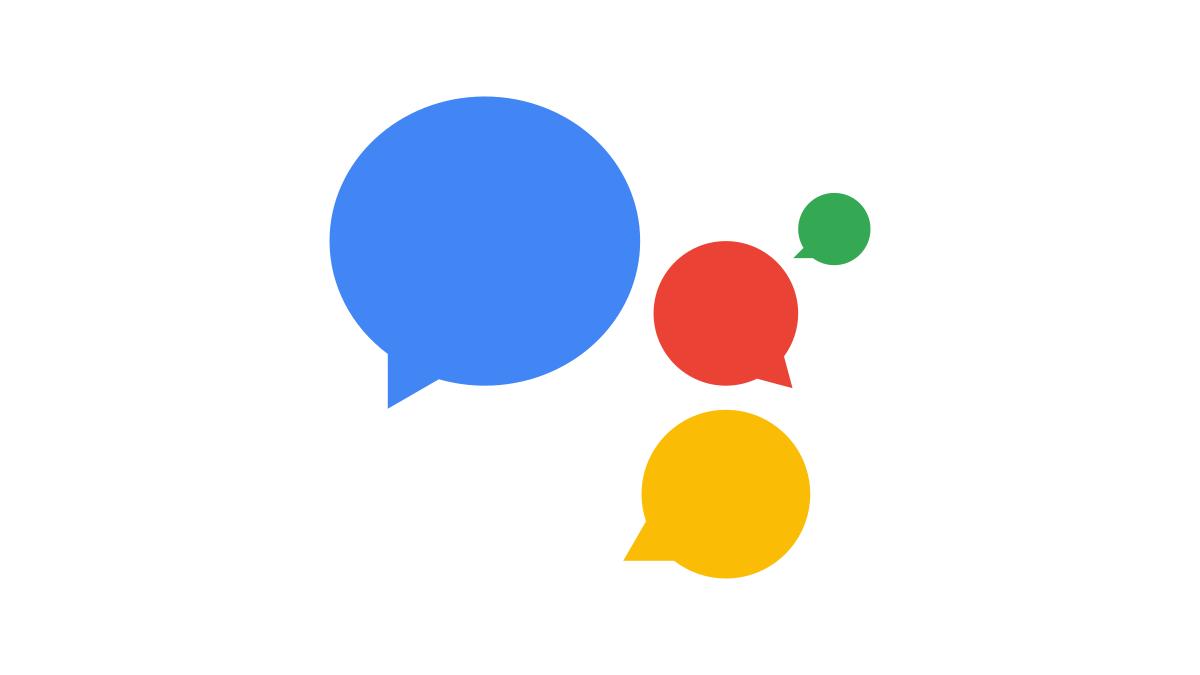 Google Assistant logo as speech bubbles.