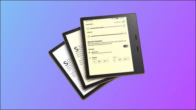 three kindle oasis devices on blue and purple background
