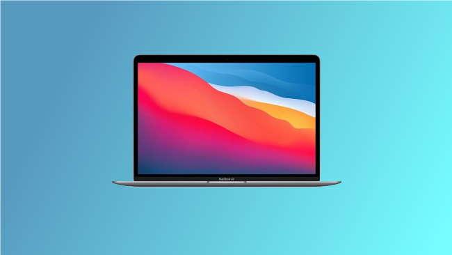 macbook air on blue background