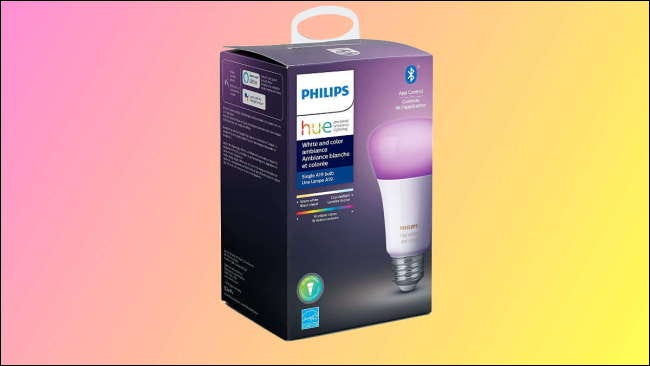philips hue box on pink and yellow background