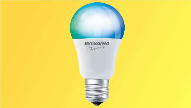 Sylvania bulb on yellow background