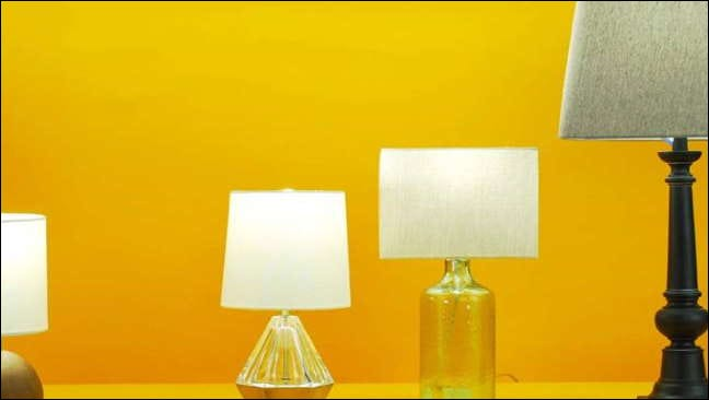 Wyze lights in lamps against yellow wall