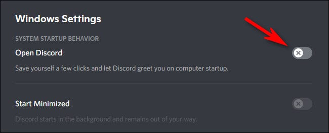 """In """"Windows Settings,"""" click the switch beside """"Open Discord"""" to turn it off."""