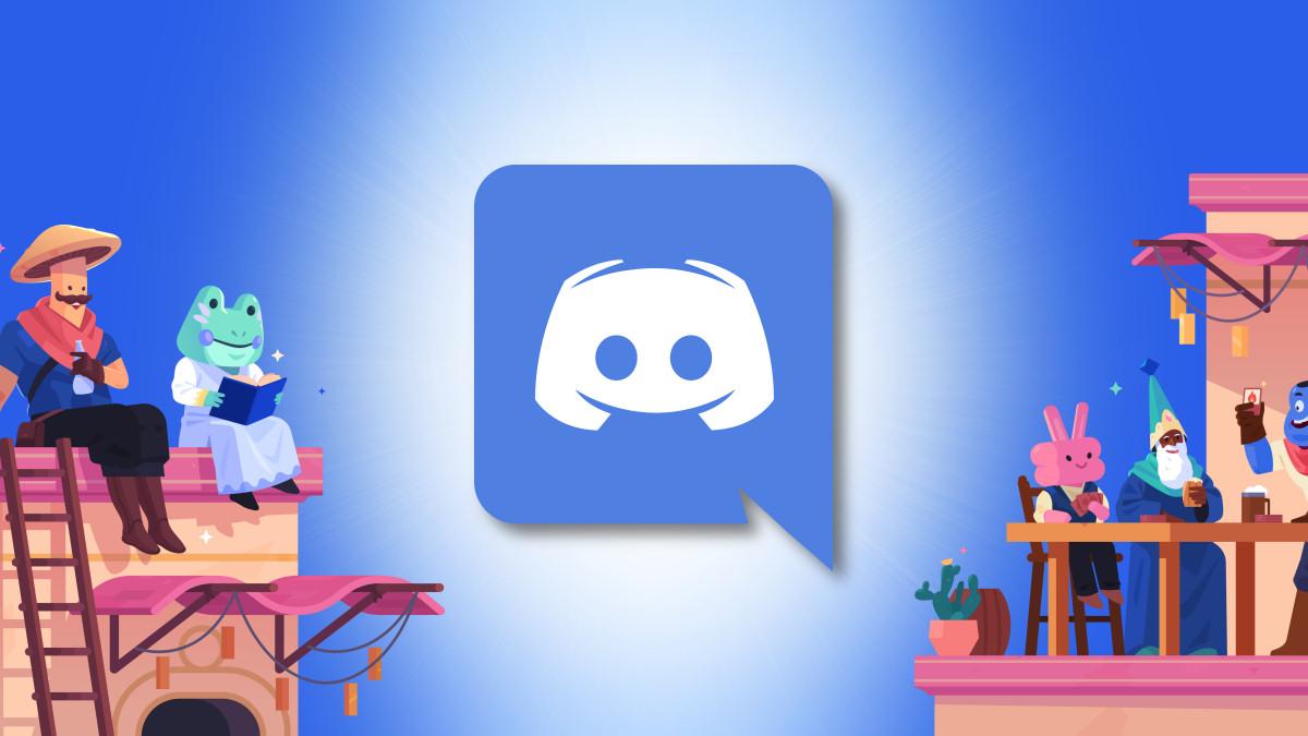 Discord Logo with Cartoon Characters Hero